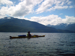 Photo: Heading west on Johnstone Strait with Vancouver Island in the background.