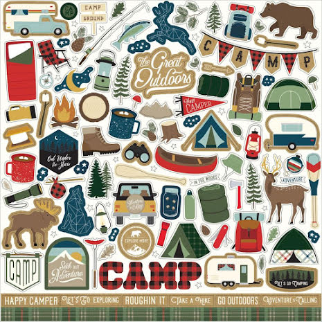Echo Park Cardstock Stickers 12X12 - Lets Go Camping