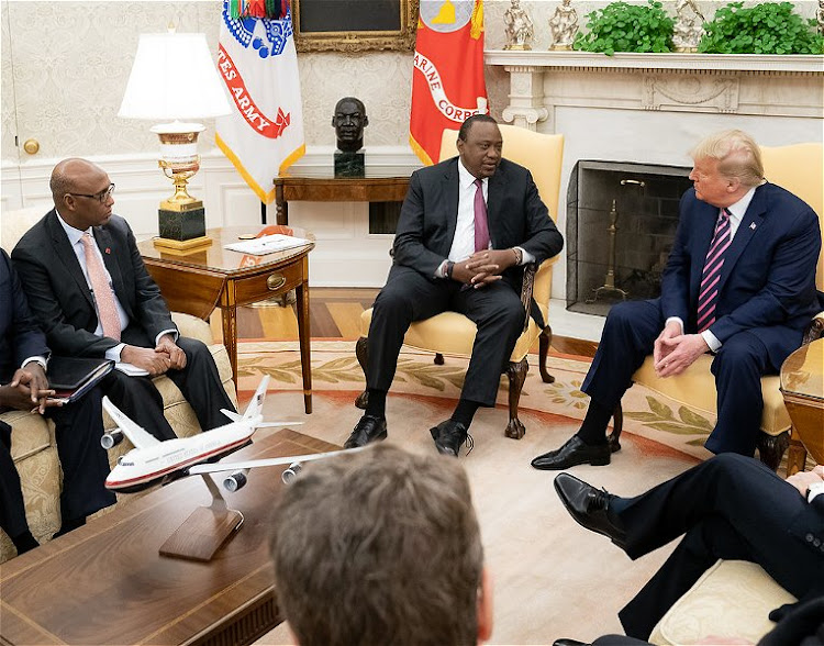 Presidents Uhuru Kenyatta and Donald Trump during the talks int he White House on February 6, 2020.