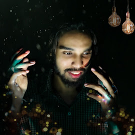 yogesh by Pranawa Kumar - Digital Art People ( magical, bokeh, model, stars, night photography )