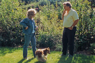 Photo: Jeannene Hanson and Yves Bizais in garden at Bizais' family farm near Nantes, France; 1994  KMH