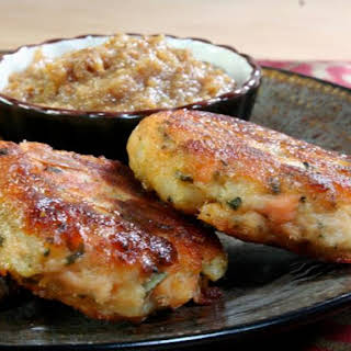 Paneer Fish Cakes with Apple and Fig Chutney.