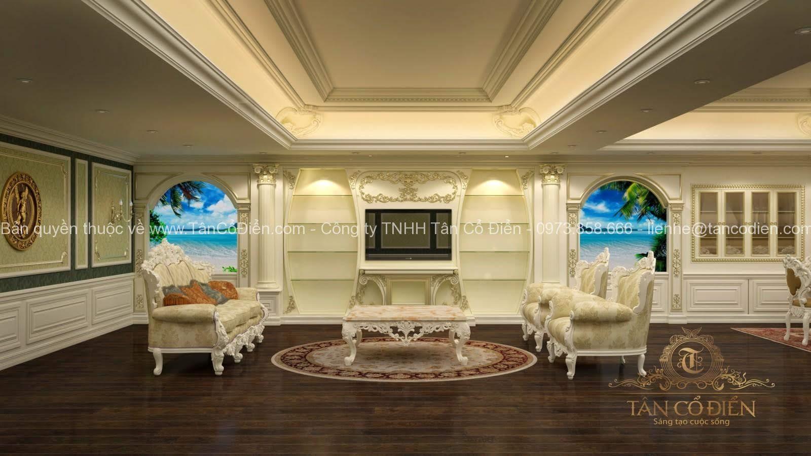 Thiết kế phòng khách tân cổ điển phong cách nhẹ nhàng