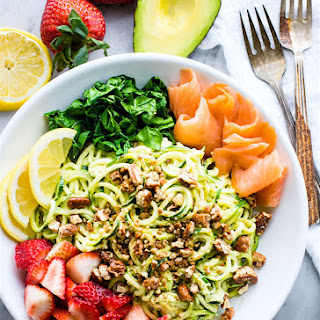 Smoked Salmon and Strawberry Zucchini Noodle Pasta Salad {Grain Free, Low Carb}.