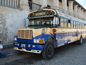 "Photo: The pre-conference tour took us to several villages. Local residents use these ""chicken buses""."