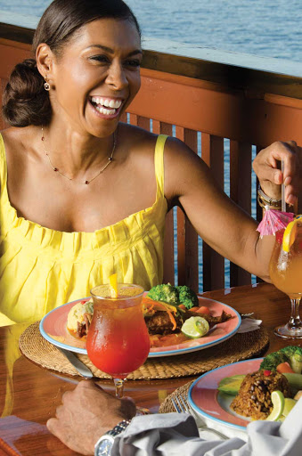 Enjoy local cuisine while overlooking the Caribbean in St. Thomas, U.S. Virgin Islands.