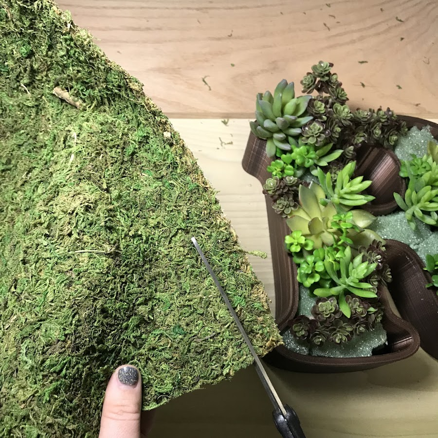 Cutting the filler moss to block the foam from sight