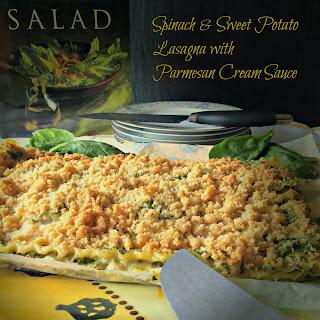 Spinach and Sweet Potato Lasagna with Parmesan Cream Sauce.