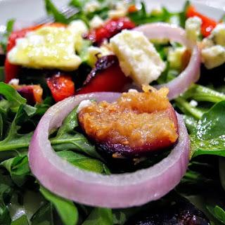 Roasted Red Pepper, Fig, & Gorgonzola Arugula Salad w/ Honey Poppy Vinaigrette