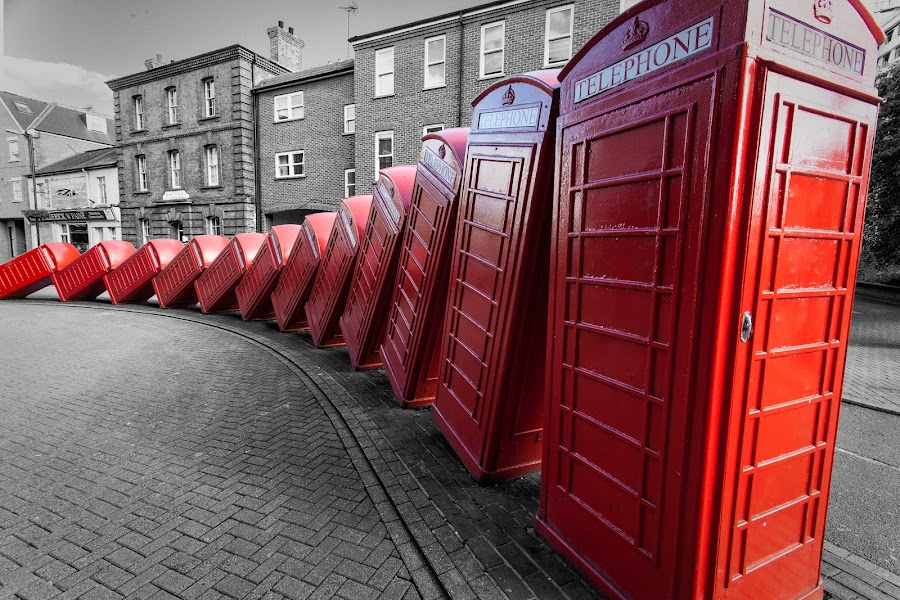 Communication Breakdown by Craig Colvin - Artistic Objects Other Objects ( domino, art, selective coloring, telephone booth )