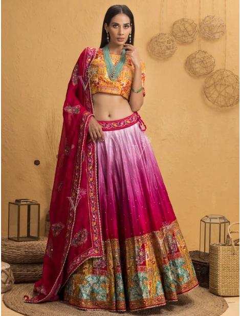 Pink Ombre Silk Printed Lehenga Set