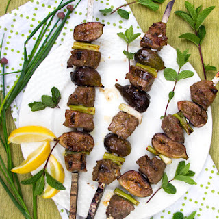 Grilled Lamb and Fig Skewers with Mint Pepper Glaze.