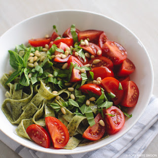 Spinach Pasta with Tomatoes, Pine Nuts and Basil.