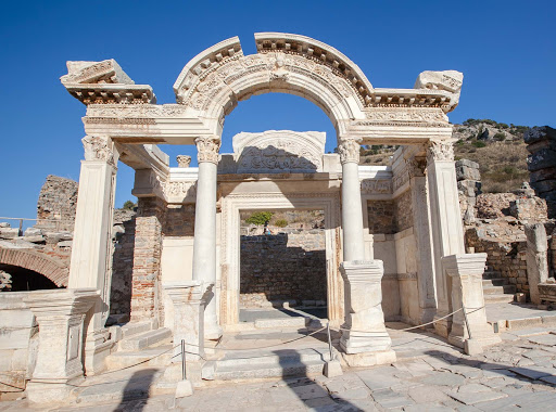 The Temple of Hadrian in Ephesus, built circa 135 A.D. to honor the Roman emperor Hadrian, who came to visit the city from Athens in 129 A.D.
