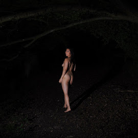 Follow Me if You Dare by DJ Cockburn - Nudes & Boudoir Artistic Nude ( forest, woman, art nude, woodland, night, asian, cece, outdoor, chinese, off camera flash, walking, dark, model )