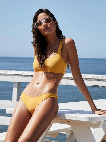 All-yellow swimsuit