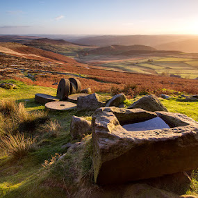 Hewn & Strewn by Neil O'Connell - Landscapes Mountains & Hills ( edge, stanage millstones, autumn, sunset, stanage, carving, stones )