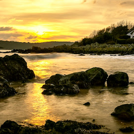 Rockcliffe by James Johnstone - Landscapes Waterscapes ( seascape, rocks, sunset, beach, rockcliffe, landscape )