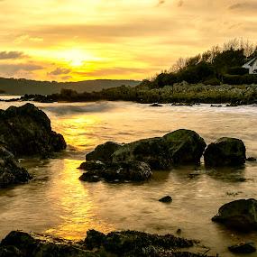 Rockcliffe by James Johnstone - Landscapes Waterscapes ( seascape, rocks, sunset, beach, rockcliffe, landscape,  )