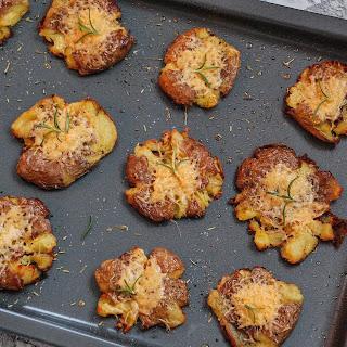 Crispy Gouda Smashed Potatoes.