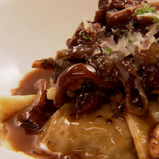 Shortrib Ravioli & Creamy Mushroom Sauce.