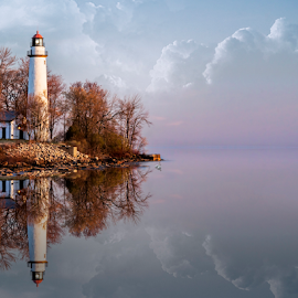 Early Spring Lighthouse by Pat Eisenberger - Landscapes Waterscapes ( michigan, reflection, port hope, lighthouse, seascape, sunrise, spring, pointe aux barques,  )