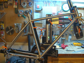Photo: It's really starting to look like a bike now, I just need to route the internals for the rear brake hose in the down tube and the derailleur cable in the top tube.