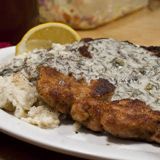 Schnitzel and Spaetzle with Dill Sauce and Coleslaw.