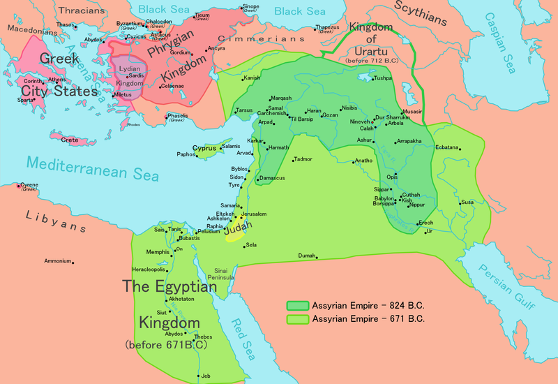 Map depicting the expansion of the Assyrian empire across Mesopotamia and Egypt.