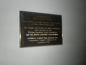 Photo: plaque with details about the beams in this room