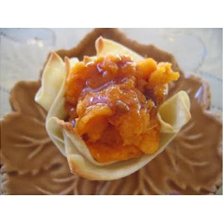 Sweet Potatoes With A Jack Daniel Sauce In Wonton Baskets