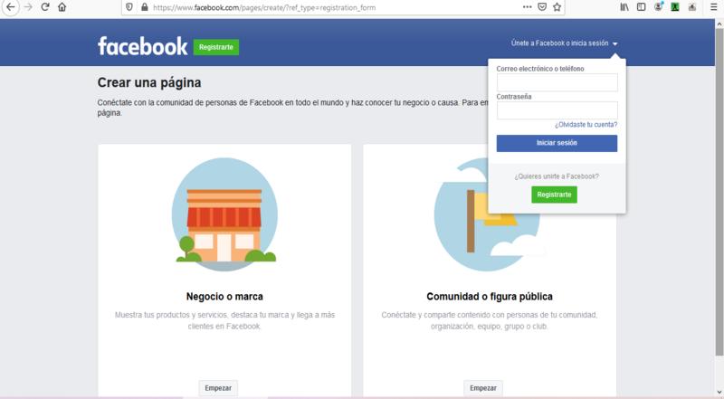 Página de empresa Facebook