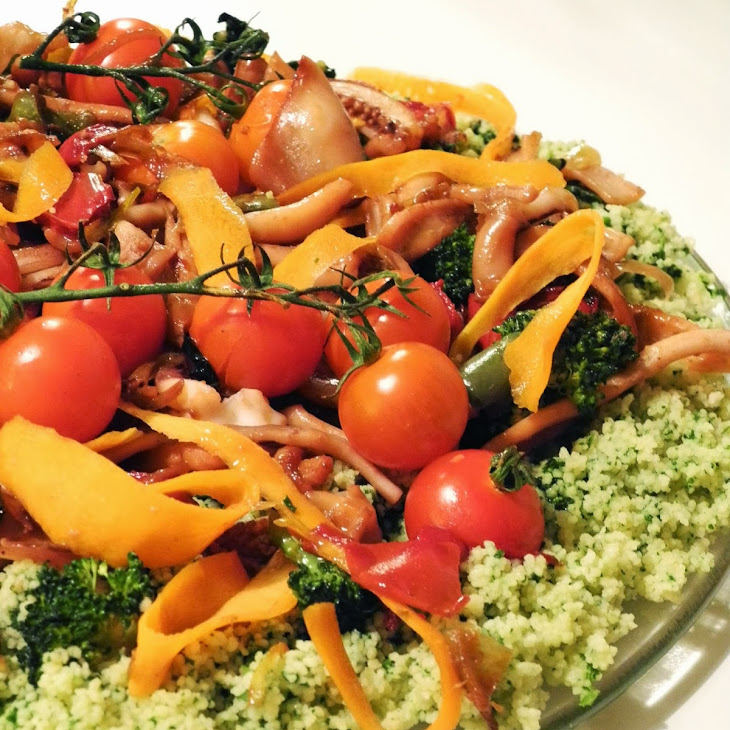 Arugula Couscous with Squid and Vegetables Recipe