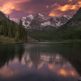 Maroon Bells by Andy Taber - Landscapes Mountains & Hills