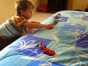 Photo: Finn Races on Mommy's Bed