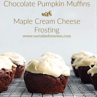 Chocolate Pumpkin Muffins with Maple Cream Cheese Frosting #PumpkinWeek2015