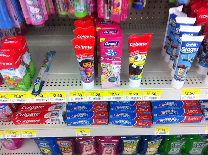 Photo: There are several kids' toothpastes out of stock, but 2 of my girls' favorites are here, Dora and Spongebob.  They like the Bubble Fruit flavor (and not many other flavors).