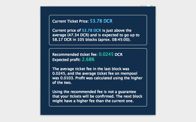 Decred Ticket Price $DCR