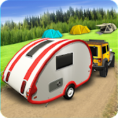 Offroad Campervan Truck Driving: Outdoor Camping