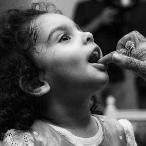 Pure Innocence  by Syed Rixvi - Babies & Children Children Candids ( child, black and white, wedding, innocent, beautiful, curls, lovely, cute, bnw, middleeast, young, kid, middle east,  )