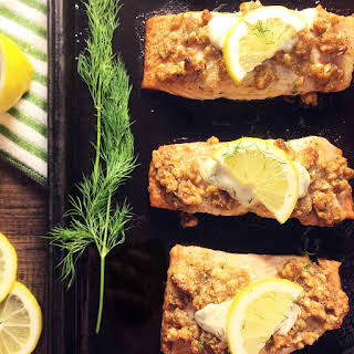 Walnut Crusted Salmon with Lemon Cream Sauce – Low Carb Keto Diet.