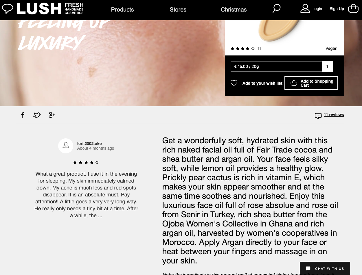 product detail page design best practice lush