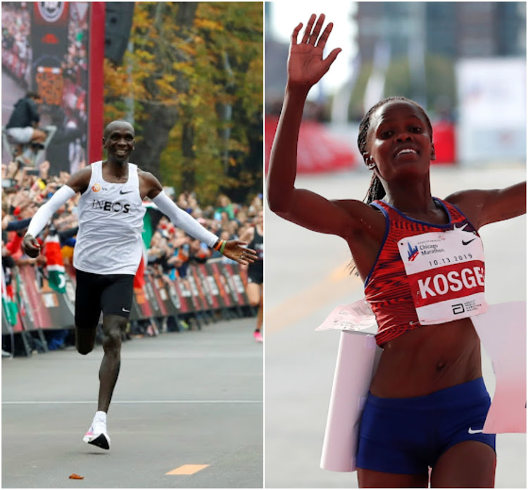 Eliud Kipchoge and Brigid Kosgei as they cross the finish line during the weekend.