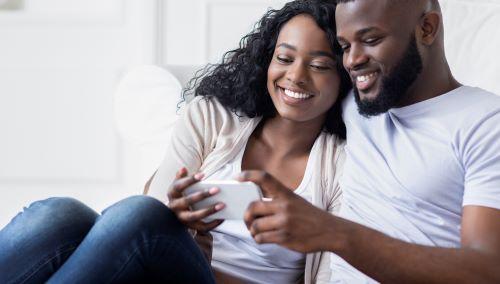 couple browsing social media
