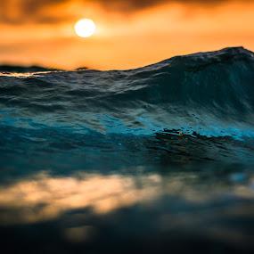 Peak by James Vodicka - Nature Up Close Water ( water, orange, reflection, peak, waterscape, green, sport, ocean, beach, flow, sunlight, coastal, sun, macro, orb, action, wave, manly, sunrise, surf, barrel, sydney,  )