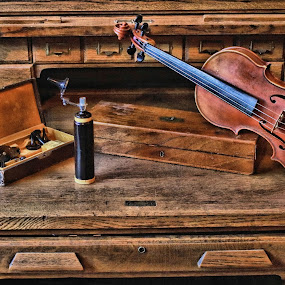 Desk of Country Doctor-Violinist by Christopher Barker - Artistic Objects Antiques ( old desk, brass lamp, violin, stethoscope with case, brass, wood case, antiques )