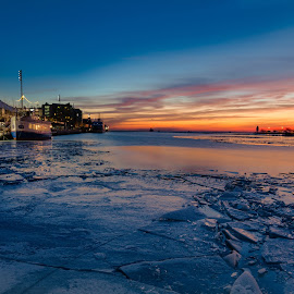 Sun Rise at the Lake Front by David Kreutzer - City,  Street & Park  Historic Districts ( lake shore, sunrise, ferris wheel, wheel, winter, frozen, navy pier, ice, lake, blue hour )