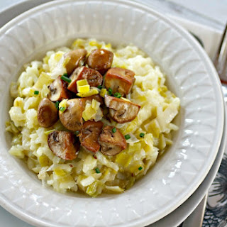 Leek Risotto with Gouda and Smoked Mushrooms Recipe