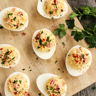 Smoky Tomato Deviled Eggs