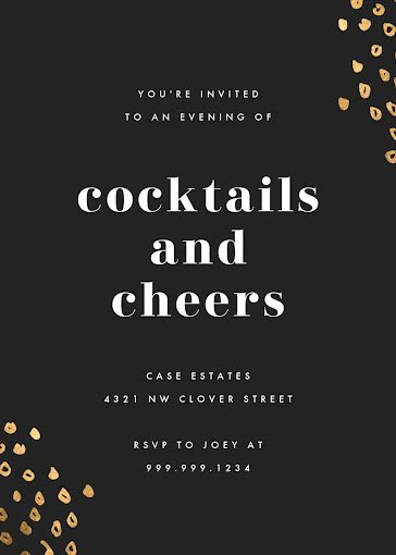 Cocktails & Cheers - New Year's Card Template
